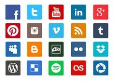 Социальные средства массовой информации и комплект значка технологии Стоковое Фото
