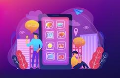Социальные средства массовой информации и подсказки новостей, умная иллюстрация концепции города бесплатная иллюстрация