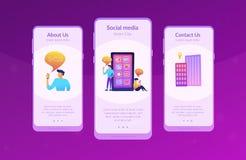 Социальные средства массовой информации и подсказки app новостей взаимодействуют шаблон иллюстрация вектора