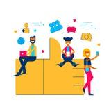 Социальные средства массовой информации любят концепция значка с людьми онлайн бесплатная иллюстрация