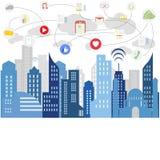 Социальные средства массовой информации современной жизни иллюстрация вектора