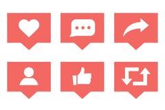 Социальные средства массовой информации установили значки уведомлений как следующий и комментарий w иллюстрация вектора