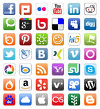 Социальные установленные кнопки сети Стоковая Фотография RF