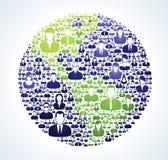 Социальный зеленый цвет населенности мира Стоковая Фотография