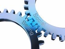 Социальный продавать на gearwheels иллюстрация вектора