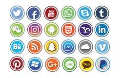 24 социальных комплекта значка средств массовой информации Стоковая Фотография