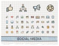 Социальная линия значки чертежа руки средств массовой информации Стоковое Изображение RF