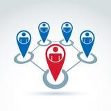 Социальная иллюстрация вектора сети, схематическое руководство и te Стоковое Изображение RF