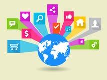 Социальная иллюстрация значка вектора средств массовой информации Стоковая Фотография