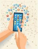 Социальная иллюстрация концепции сети средств массовой информации Стоковые Фотографии RF