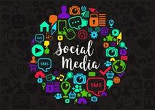 Социальная иллюстрация средств массовой информации Стоковое Изображение RF