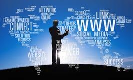 Социальная концепция глобальных связей интернет-связи средств массовой информации Стоковое фото RF