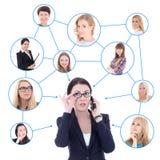 Социальная концепция сети - бизнес-леди с мобильным телефоном стоковое изображение rf