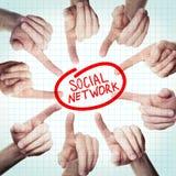 Социальная концепция сети с указывать рука Стоковое Изображение RF