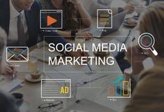 Социальная концепция соединения рекламы средств массовой информации Стоковые Фото