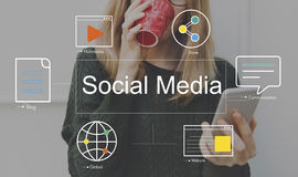 Социальная концепция средств массовой информации блога болтовни средств массовой информации стоковые фотографии rf