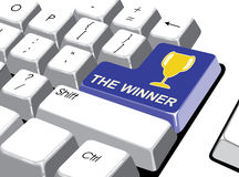 Социальная концепция средств массовой информации: Войдите кнопку с победителем на компьютере Стоковое Фото