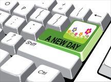 Социальная концепция средств массовой информации: Войдите кнопку с новым днем на компьютере Стоковое фото RF