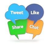 Социальная концепция средств массовой информации с красочным пузырем речи иллюстрация штока