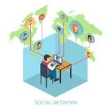 Социальная на-линия концепция сети для сети и infograp Стоковое Изображение RF
