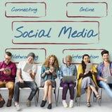 Социальная доля связи средств массовой информации соединяет концепцию стоковое фото
