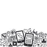Социальная предпосылка Doodles средств массовой информации с космосом для текста Стоковая Фотография RF