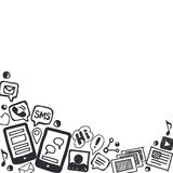 Социальная предпосылка Doodles средств массовой информации с космосом для текста Стоковые Изображения