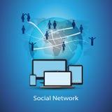 Социальная принципиальная схема сети Стоковое Изображение RF