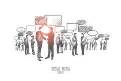 Социальная принципиальная схема средств Вектор нарисованный рукой изолированный иллюстрация вектора