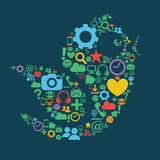 Социальная птица средств массовой информации иллюстрация штока
