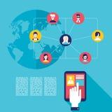 Социальная рука бизнесмена концепции сети касаясь экрану таблетки с значками пользователя интернета Стоковые Фото