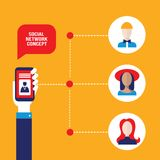 Социальная рука концепции сети держа умный телефон с воплощением людей Иллюстрация штока