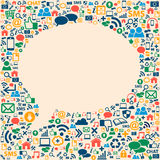 Социальная текстура значков средств массовой информации в форме пузыря беседы Стоковая Фотография