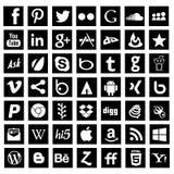 Социальная чернота значков сети средств массовой информации стоковое фото