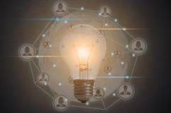 Социальная электрическая лампочка сети концепция новых идей с нововведением Стоковые Фото