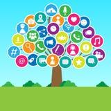 Социальное дерево средств массовой информации Стоковое Изображение