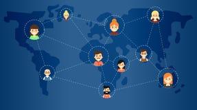 Социальное знамя сети средств массовой информации с соединенными значками иллюстрация штока
