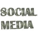 Социальное изображение слова 3D средств массовой информации серебряное Стоковые Фото