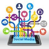 Социальное соединение средств массовой информации на Smartphone Стоковое Фото