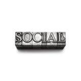 Социальное слово, letterpress Стоковое фото RF