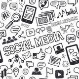 Социальной картина Doodles средств массовой информации нарисованная рукой безшовная Стоковое фото RF