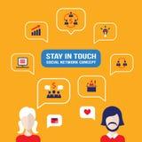 Социальные воплощения людей концепции сети с речью клокочут Бесплатная Иллюстрация