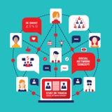 Социальные значки дела воплощения людей концепции связи системы Иллюстрация штока