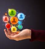 Социальные значки сети в руке женщины Стоковая Фотография