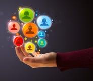 Социальные значки сети в руке женщины Стоковое Изображение
