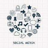 Социальные значки средств массовой информации в круге Стоковое Изображение RF