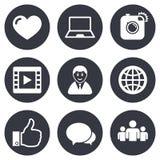 Социальные значки средств массовой информации Знаки видео, доли и болтовни Стоковое Изображение RF