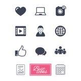 Социальные значки средств массовой информации Знаки видео, доли и болтовни Стоковое Изображение