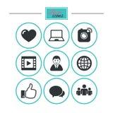 Социальные значки средств массовой информации Знаки видео, доли и болтовни Стоковое фото RF