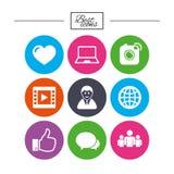 Социальные значки средств массовой информации Знаки видео, доли и болтовни Стоковые Фото